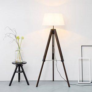 Stehlampe aus Massivholz, Wohnzimmer Lampe mit Holz, Stehlampe mit Stativ aus Holz